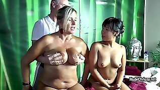 Blonde MILF Nude Chrissy and Asian brunette doing handjob for old man