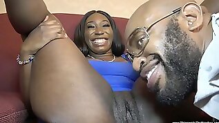 Busty Ebony In Blue Dress