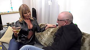 Tattooed mature blonde Miss Gabrielle Fox pussy licked and fucked