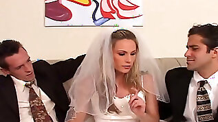 Horn mad and cum voracious blonde bride works on two stiff dicks at once