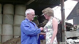 Real mature slut in glasses rides big dick of grey haired farmer