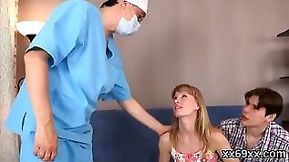 Doctor looks hymen examination and virgin chick penetrating