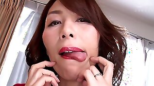 Cum craving Asian woman pleasuring her lover in bed