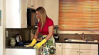 Sexy hot MILF finger fucks blonde teen babe in the kitchen