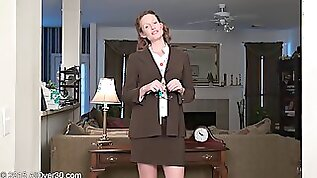Naughty slut MILF with curly hair fondling her juicy honeypot