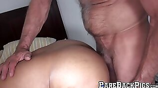Amazing bareback gay sex with two and mature hunky daddies