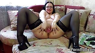 Vaginal fisting and bottle in pussy mature lady ride huge boobed cougar