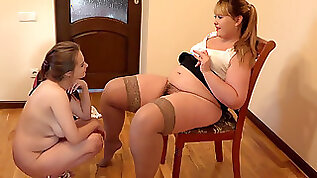Busty student in an exam with a lezzie teacher. Licking a hairy teen pussy and anal romp plaything guarantee successful passing the exam.