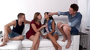 Double date and double shagging foursome sex